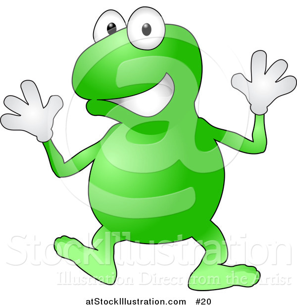 Vector Illustration of a Happy Green Frog Wearing Gloves Doing Jazz Hands While Dancing