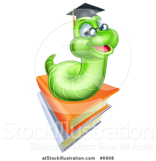 Vector Illustration of a Happy Green Professor Earthworm on a Stack of Books