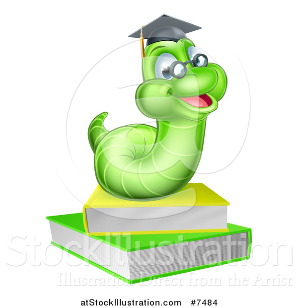 Vector Illustration of a Happy Green Professor or Graduate Earthworm on Books