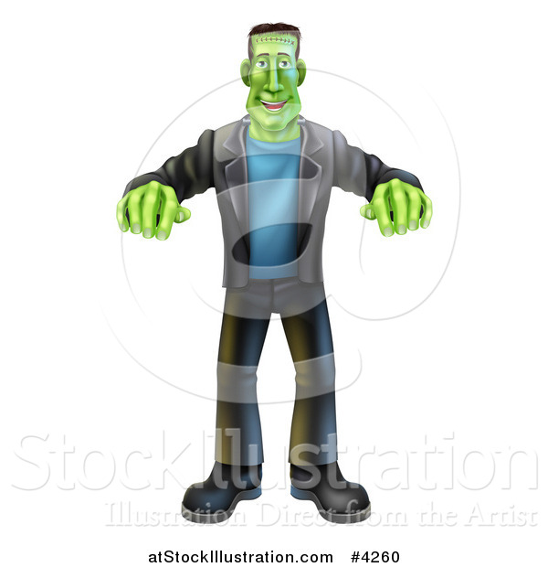 Vector Illustration of a Happy Halloween Frankenstein Walking with His Arms out