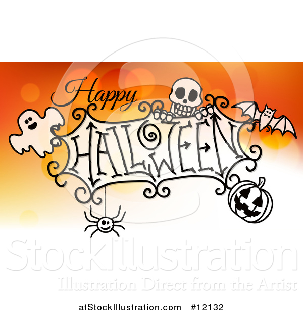 Vector Illustration of a Happy Halloween Greeting with a Ghost, Skull, Bat, Jackolantern and Spider over Gradient Orange