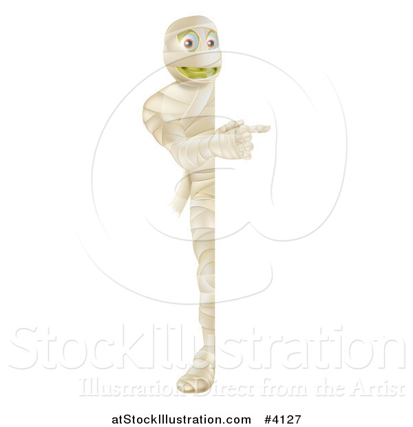 Vector Illustration of a Happy Halloween Mummy Looking Around and Pointing at a Sign