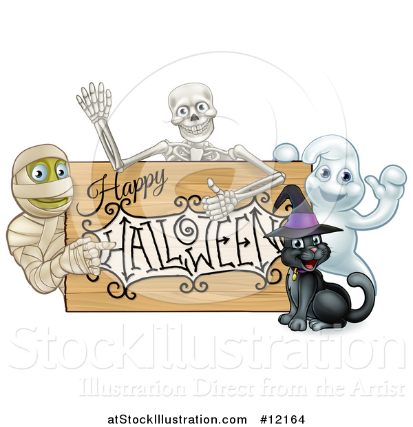 Vector Illustration of a Happy Halloween Sign with a Witch Cat, Ghost, Skeleton and Mummy