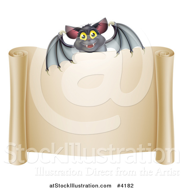 Vector Illustration of a Happy Halloween Vampire Bat over a Scroll Sign