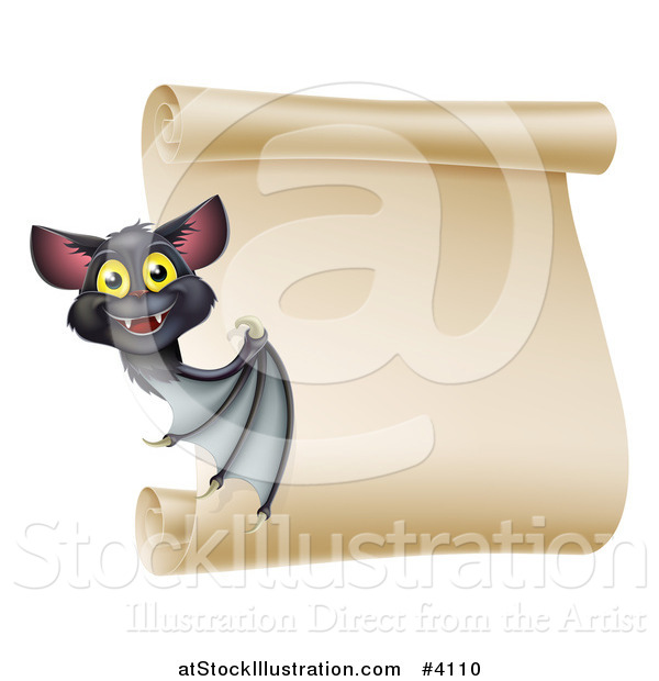 Vector Illustration of a Happy Halloween Vampire Bat Presenting a Scroll Sign