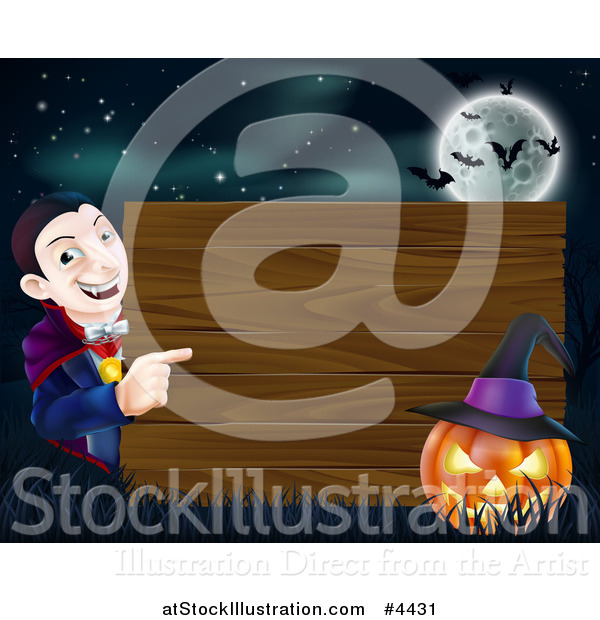 Vector Illustration of a Happy Halloween Vampire Pointing to a Wooden Sign with a Jackolantern Under a Full Moon with Bats
