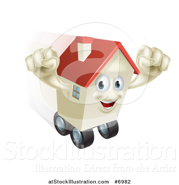 Vector Illustration of a Happy House Character Cheering and Moving While Rolling on Wheels