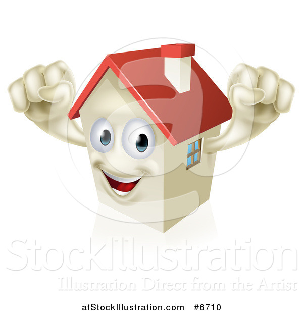 Vector Illustration of a Happy House Character Cheering