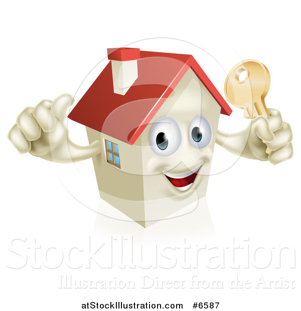 Vector Illustration of a Happy House Character Holding a Thumb up and a Gold Key
