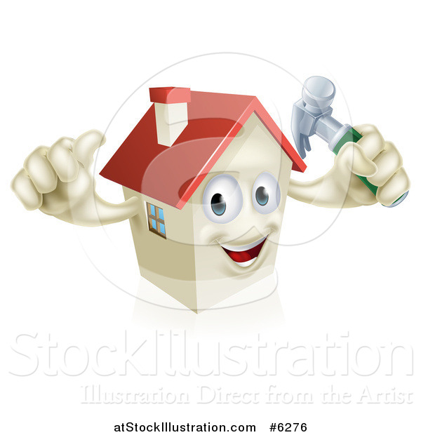 Vector Illustration of a Happy House Character Holding a Thumb up and a Hammer