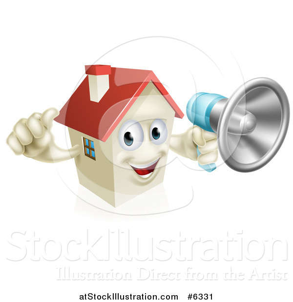 Vector Illustration of a Happy House Character Holding a Thumb up and a Megaphone