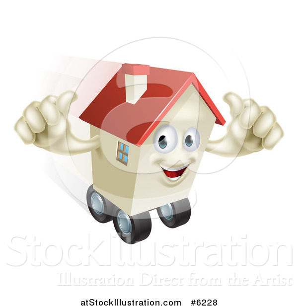 Vector Illustration of a Happy House Character Holding Two Thumbs up and Rolling on Wheels