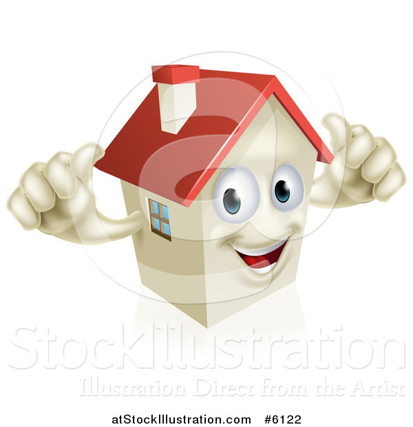 Vector Illustration of a Happy House Character Holding Two Thumbs up