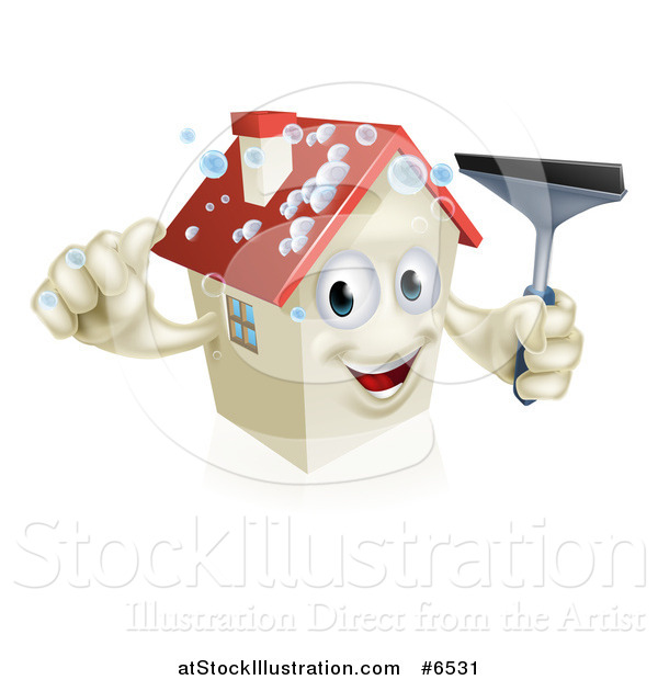 Vector Illustration of a Happy House Character with Bubbles, Holding a Thumb up and a Window Washing Squeegee