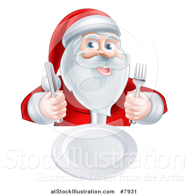 Vector Illustration of a Happy Hungry Christmas Santa Claus Sitting with a Clean Plate and Holding Silverware