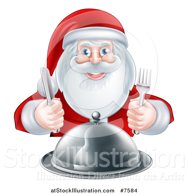 Vector Illustration of a Happy Hungry Christmas Santa Claus Sitting with a Cloche Platter and Holding Silverware
