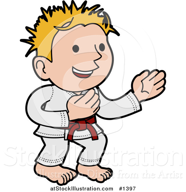 Vector Illustration of a Happy Karate Boy with Blond Hair, Wearing a Red Belt and White Uniform and Standing in a Pose