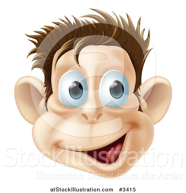 Vector Illustration of a Happy Laughing Monkey Face