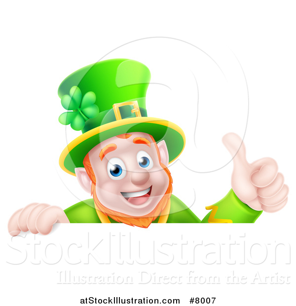 Vector Illustration of a Happy Leprechaun Giving a Thumb up over a Sign