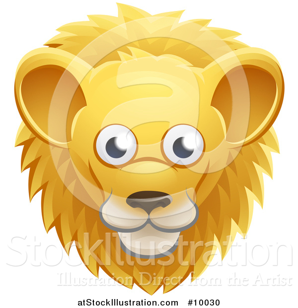 Vector Illustration of a Happy Male Lion Face Avatar