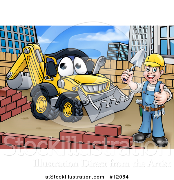Vector Illustration of a Happy Male Mason Holding a Thumb Up, Working near a Bulldozer Digger