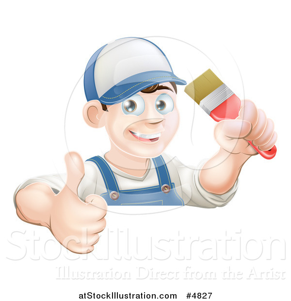 Vector Illustration of a Happy Male Painter Holding a Thumb up and a Brush over a Sign