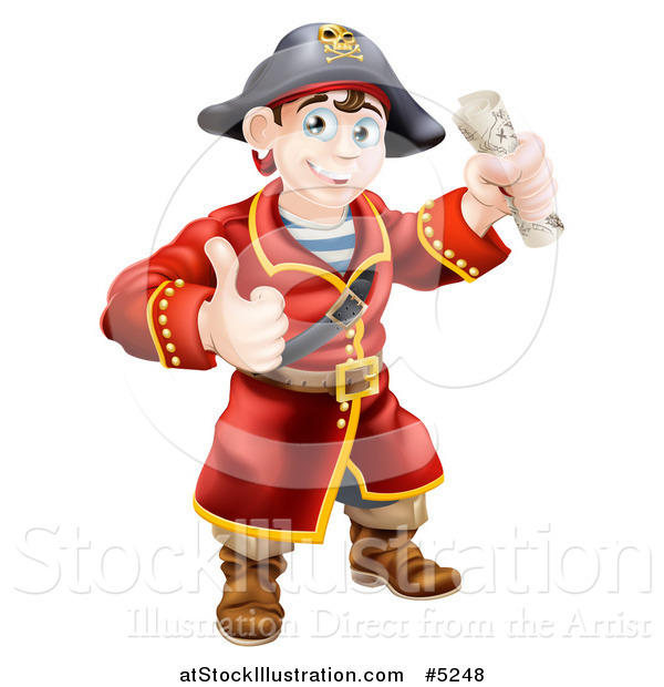 Vector Illustration of a Happy Male Pirate Captain Holding a Thumb up and Treasure Map