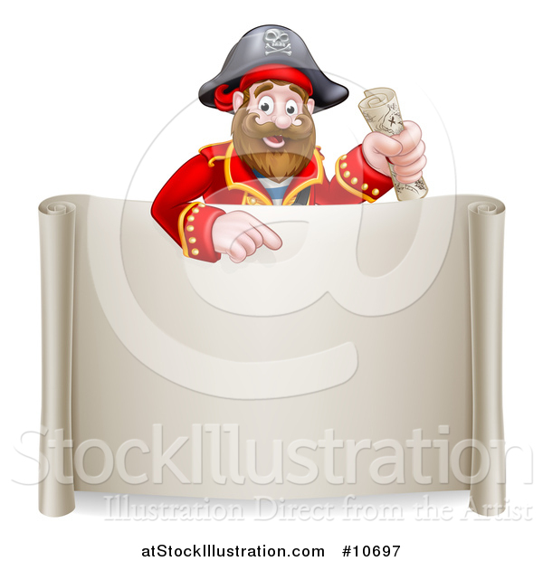 Vector Illustration of a Happy Male Pirate Captain Holding a Treasure Map and Pointing over a Scroll Sign