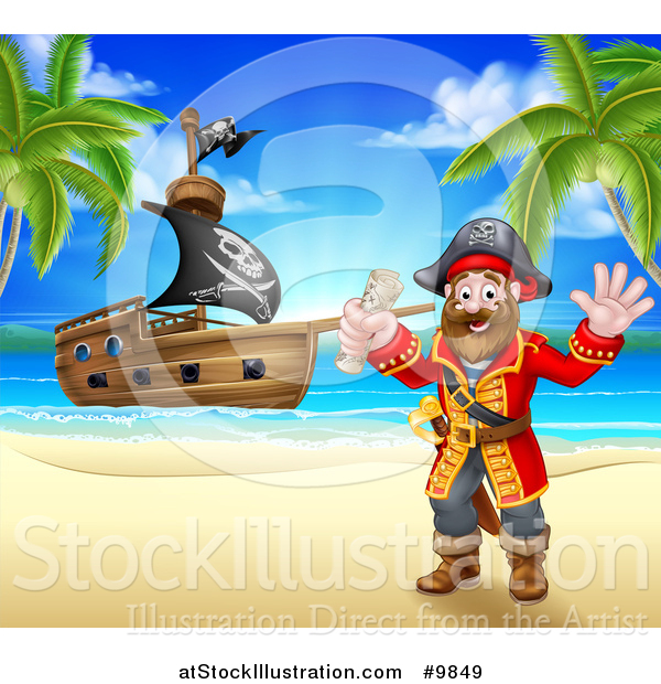 Vector Illustration of a Happy Male Pirate Captain Holding a Treasure Map and Waving on a Tropical Beach, with a Ship in the Background