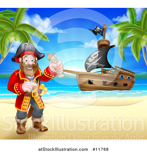 Vector Illustration of a Happy Male Pirate Captain Holding a Treasure Map on a Tropical Beach, with a Ship in the Background