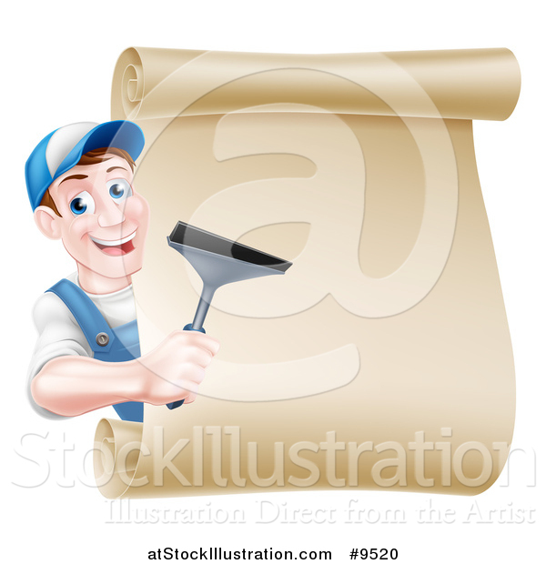 Vector Illustration of a Happy Middle Aged Brunette Caucasian Window Cleaner Man in Blue, Holding a Squeegee Around a Scroll Sign