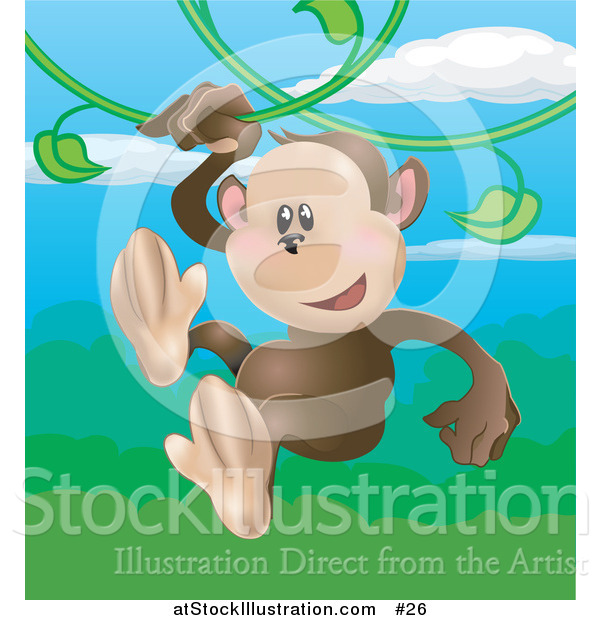 Vector Illustration of a Happy Monkey Swinging on Vines in a Rainforest