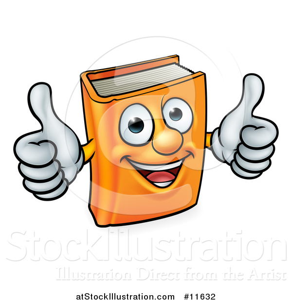 Vector Illustration of a Happy Orange Book Character Mascot Giving Two Thumbs up