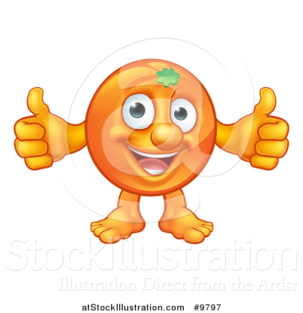 Vector Illustration of a Happy Orange Mascot Giving Two Thumbs up