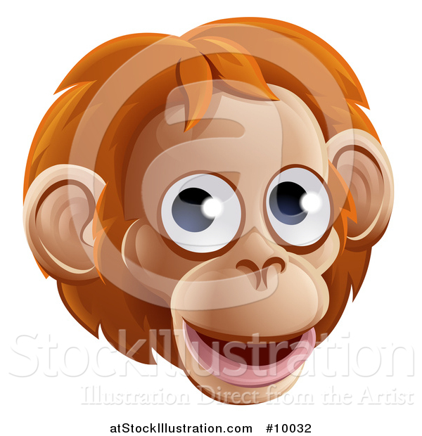 Vector Illustration of a Happy Orangutan Face Avatar