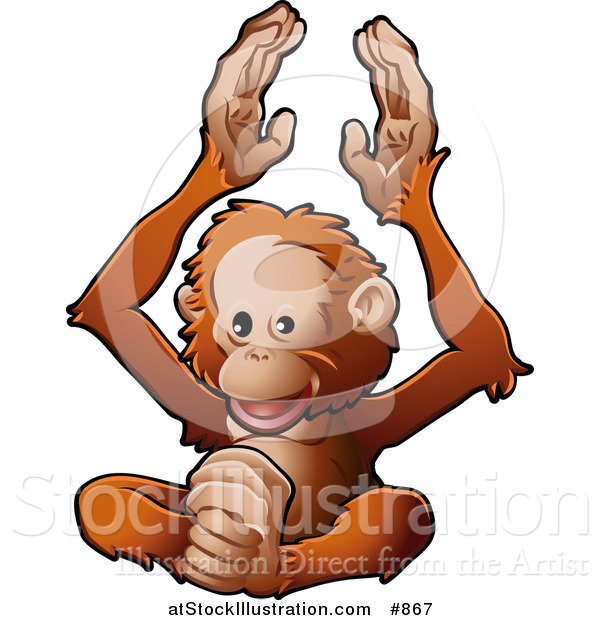 Vector Illustration of a Happy Orangutan Monkey Clapping His Hands and Feet