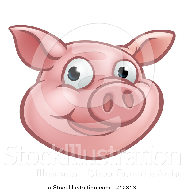 Vector Illustration of a Happy Pig Mascot Face
