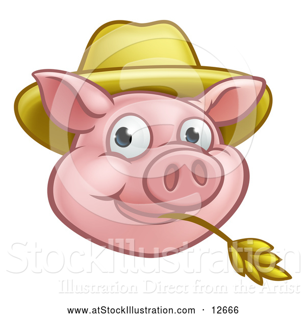 Vector Illustration of a Happy Pig Mascot Face Wearing a Straw Hat and Chewing on Straw