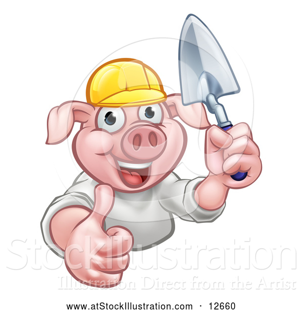 Vector Illustration of a Happy Pig Mascot Mason Holding a Trowel