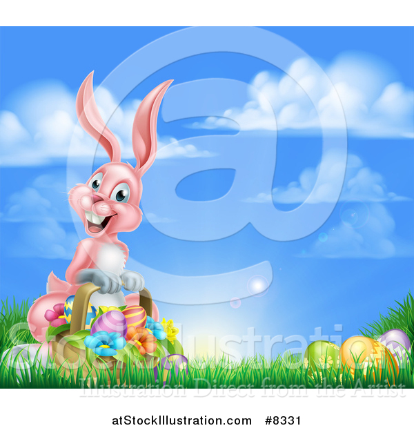 Vector Illustration of a Happy Pink Easter Bunny with a Basket of Eggs and Flowers in the Grass, Against a Blue Sky