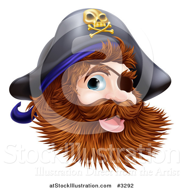 Vector Illustration of a Happy Pirate Captain with an Eye Patch and Beard