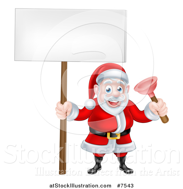 Vector Illustration of a Happy Plumber Christmas Santa Claus Holding a Plunger and Blank Sign