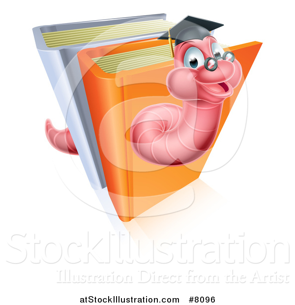 Vector Illustration of a Happy Professor or Graduate Earthworm Emerging from Upright Books