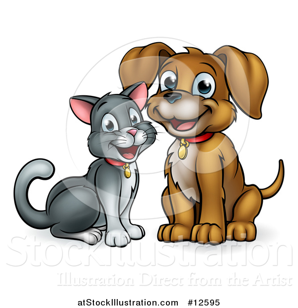 Vector Illustration of a Happy Puppy Dog and Cat Sitting