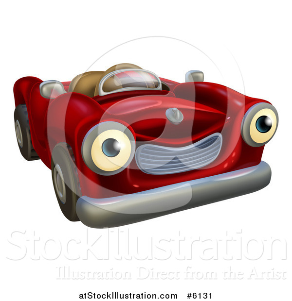 Vector Illustration of a Happy Red Car Character