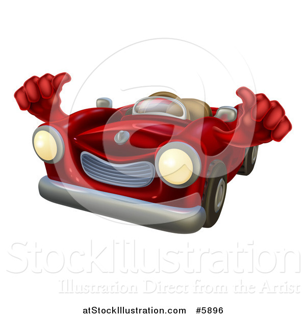 Vector Illustration of a Happy Red Car Holding Thumbs up