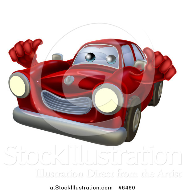 Vector Illustration of a Happy Red Car Holding Two Thumbs up