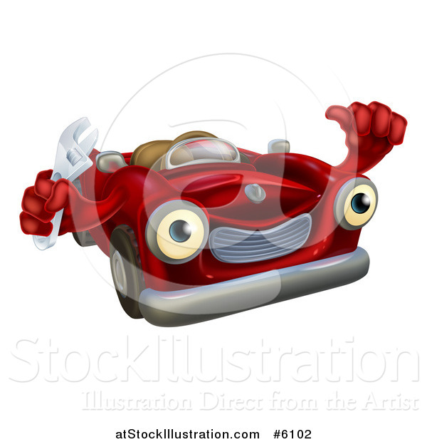 Vector Illustration of a Happy Red Convertible Car Character Mechanic Holding a Wrench and Thumb up