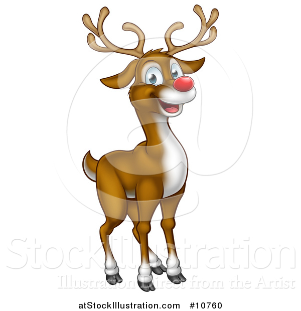 Vector Illustration of a Happy Red Nosed Reindeer