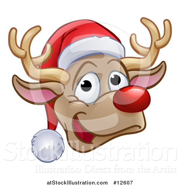 Vector Illustration of a Happy Red Nosed Reindeer Face Wearing a Christmas Santa Hat